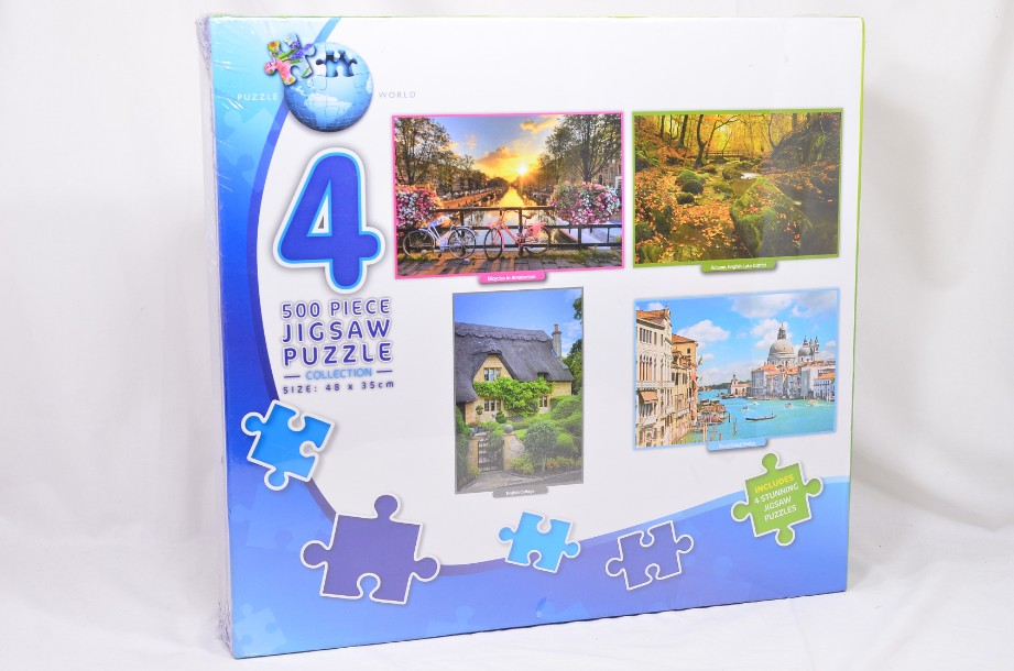 Box of Four 500-Piece Jigsaw Puzzles by Puzzle World