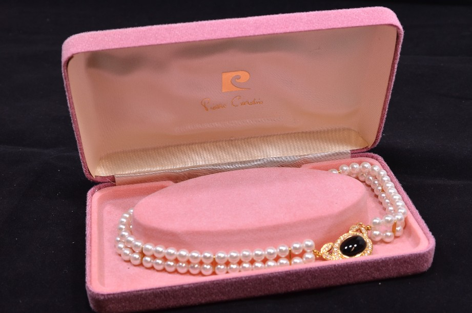 Pierre Cardin Pearl Necklace with a Diamante Surrounded Central Black Stone