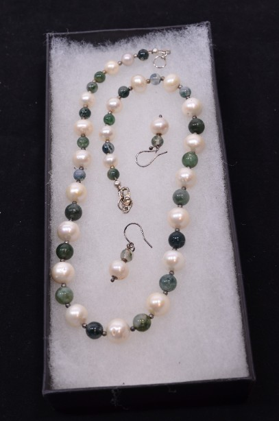 Freshwater Pearl and Moss Agate Gemstone Necklace and Matching Earrings