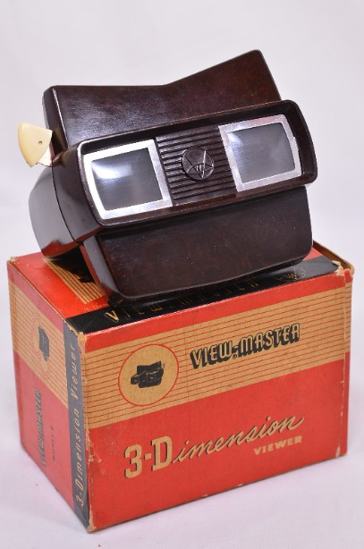 Vintage 3D View-Master Viewer Brown Model E in Original Box