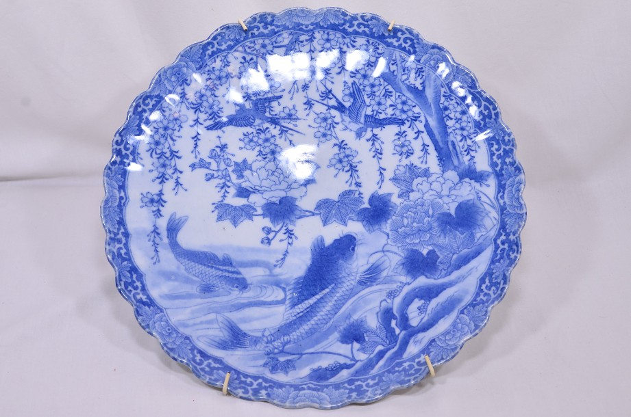 Oriental Blue and White Charger Plate - Birds & Fish - Hand made - 31cm Diameter
