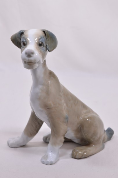 Lladro Porcelain Sitting Dog Figurine in Light Brown and White