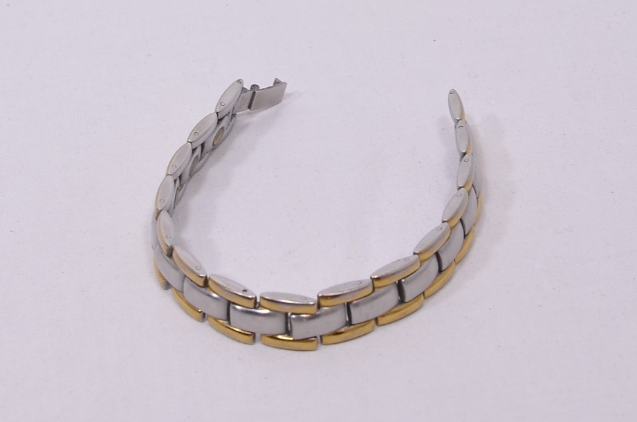 Stainless Steel Two Tone Silver/Gold Coloured Men's Magnetic Therapy Bracelet