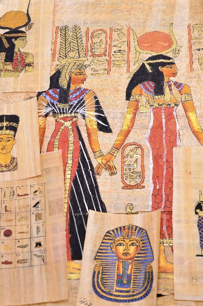 Collection of 7 Egyptian painting on papyrus with authentication letter