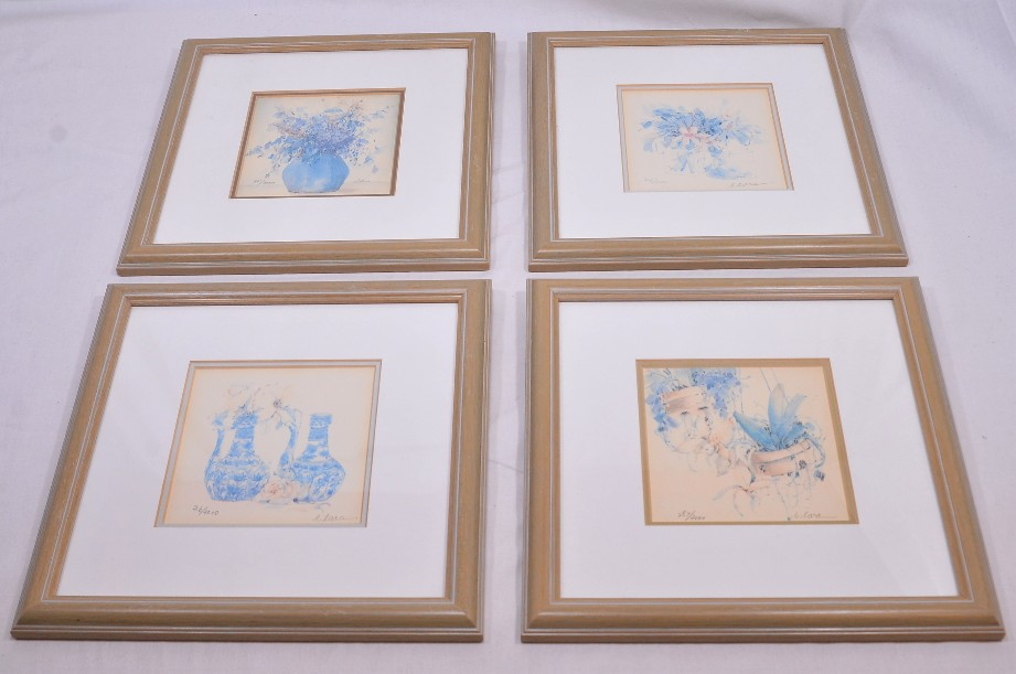 4 Framed and Signed Limited Edition Watercolour Prints by Clara Hung Mei Yee