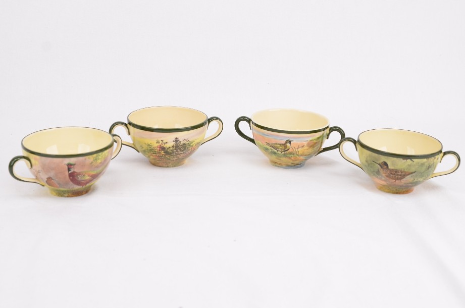Four hand painted Royal Doulton game birds coupes - D4783