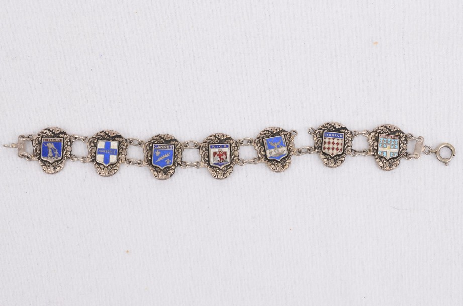French coat of arms silver tone bracelet