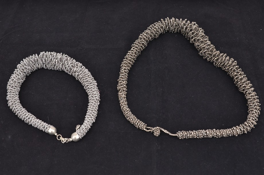 Two gunmetal seed bead collar necklaces