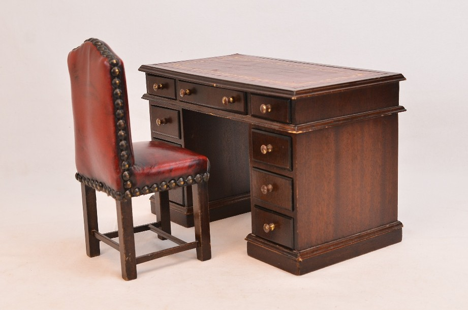 Miniature Victorian Style Dolls House Desk and Chair (1/6 scale)